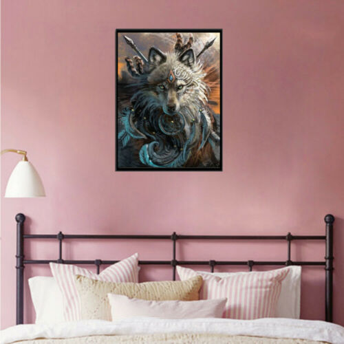 Full Drill 5D DIY Diamond Painting Wolf With Weapon Embroidery Kits Decor Mural