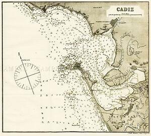 MAP-ANTIQUE-ROSSER-1869-CADIZ-SPAIN-HISTORIC-LARGE-REPLICA-POSTER-PRINT-PAM1191