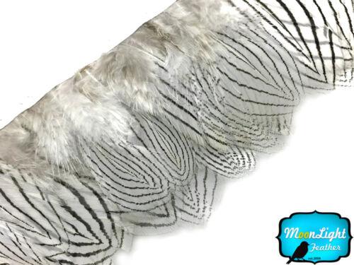 environ 0.91 m 1 Yd Blanc Naturel Argent Faisan plumage Feather Trim Costume Halloween