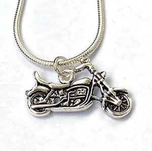 Motorrad Anhänger 925 Sterling Silber Lady Biker Pendant Neu