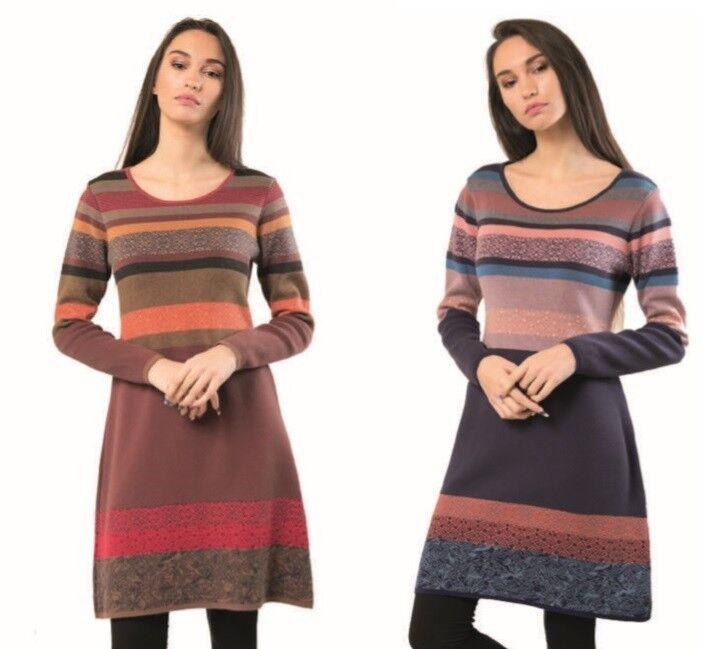 KOOI knitwear Kleid dress gestreift blue red pink 18123