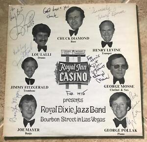 THE ROYAL DIXIE JAZZ BAND SIGNED LP JACKET CHUCK DIAMOND LOU LALI JOE MAYER + 4