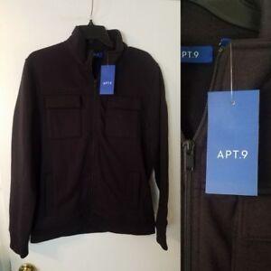 Mens Jacket Zip Up Lightweight Fleece size SMALL Black ...