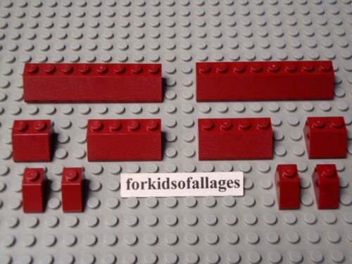 Lego Lot-F 2x8 2x4 2x2 2x1 Sloped House Castle Dark Red Roof Slope Bricks 10 Pc