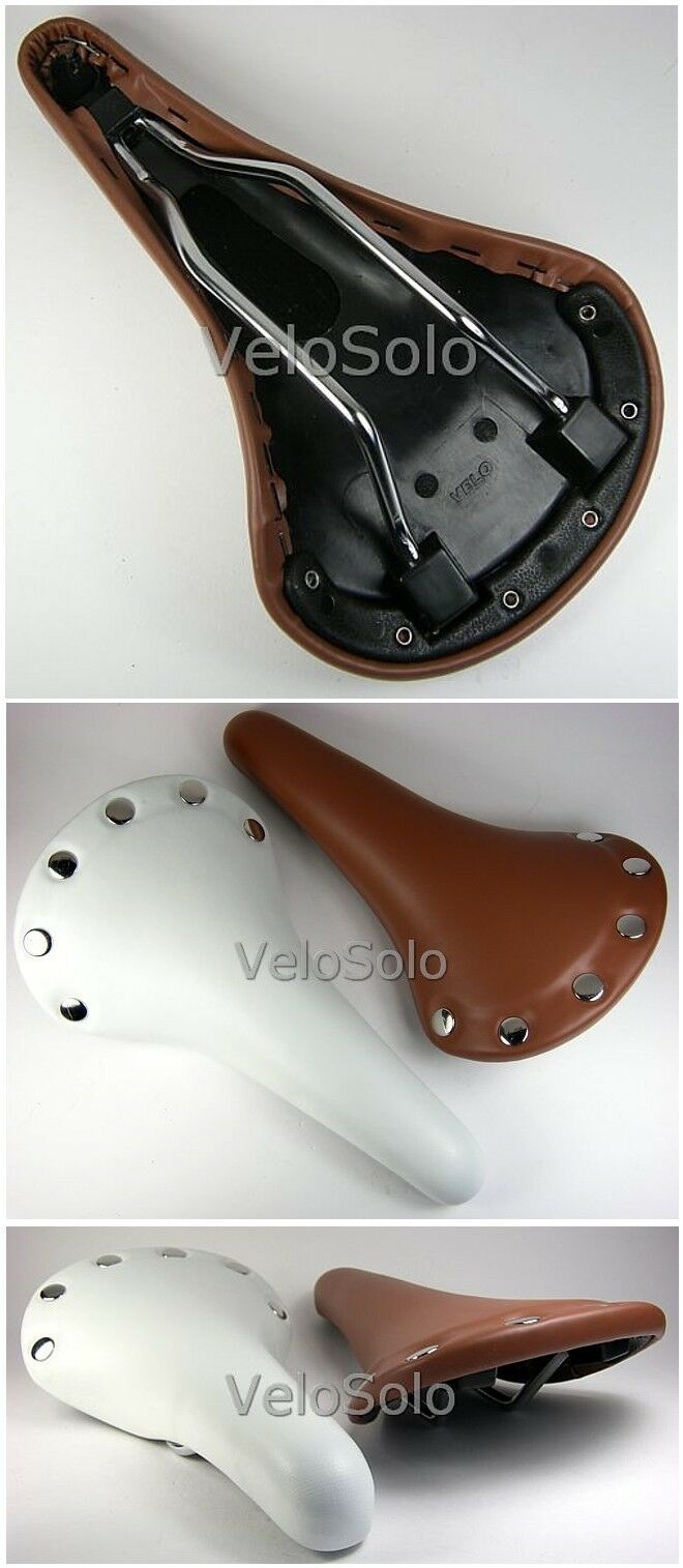 VELO VELO VELO SADDLE with RIVETS synthetic or genuine leather fixed TAN braun or Weiß 13217c