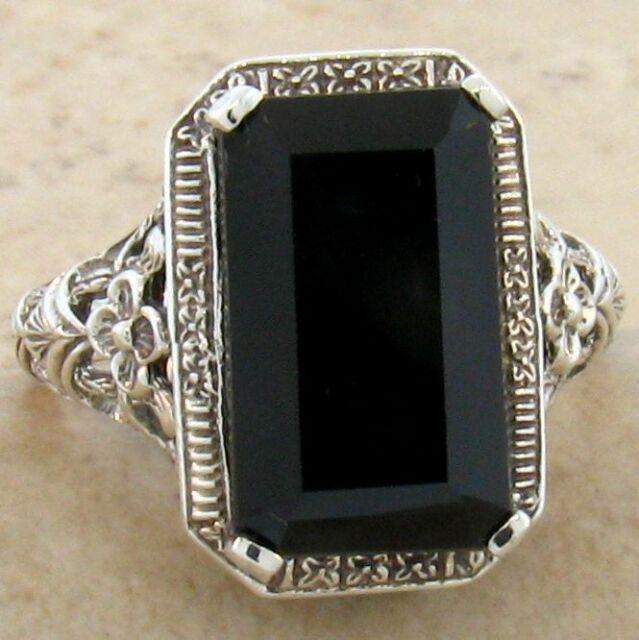 GENUINE BLACK AGATE .925 STERLING VINTAGE ANTIQUE DESIGN SILVER RING,       #762