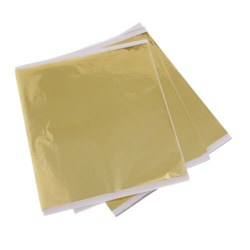 100 Sheets Gold Leaf for Arts Furniture Decoration,Frame Gilding Crafting