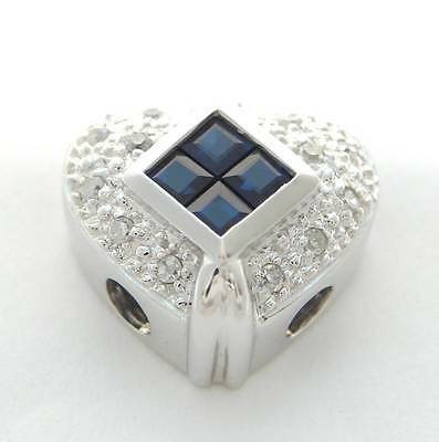 KLEIN SLIDE DIAMOND SAPPHIRE HEART SLIDER BRACELET 14K NEW REDUCED