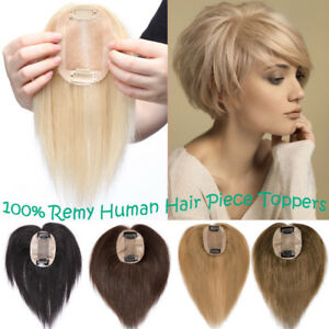 Women Hair Piece Topper Hairpiece 8A Human Hair Top Wig Toupee For ... 4f67d95196