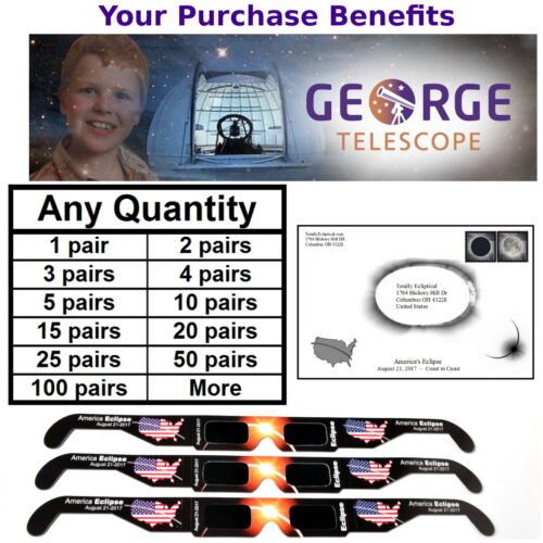 2017 Solar Eclipse Glasses - Benefits charity, CE certified safe, ships from USA