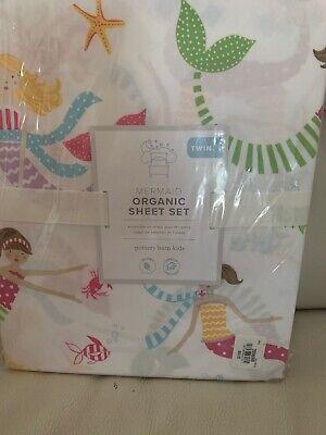 POTTERY BARN KIDS TWIN SIZE ORGANIC MERMAID SHEET SET Multi Color