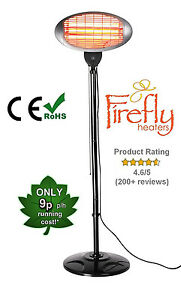 Firefly Garden Outdoor Quartz 2KW Electric Patio Heater Free Standing Infrared