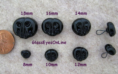 Animals  GN-1 3 Black Glass Noses On Wire Loops 14mm to 18mm Sew On Teddy Bears