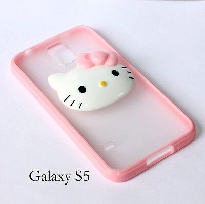 Cute Pink Hello Kitty 3D DIY Face HARD GUMMY SILICONE RUBBER TPU SKIN CASE COVER