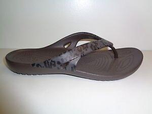 a3547b91c Crocs Size 6 KADEE II LEOPARD PRINT FLIP FLOPS Espresso Sandals New ...