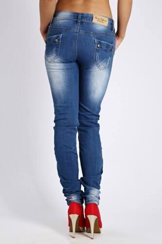 Jean skinny jeans bleu rabat Ceinture Mid Rise 4 Poches Taille UK 6 8 10 12//046
