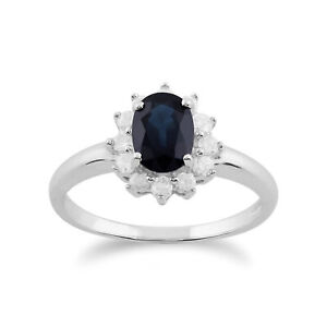 Gemondo-9ct-White-Gold-1-11ct-Blue-Sapphire-amp-Diamond-Oval-Cluster-Ring