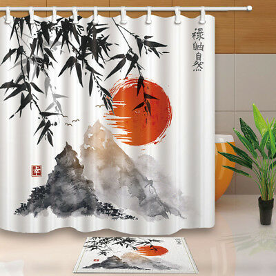 Japanese Bamboo Trees Sun And Mountain Fabric Shower Curtain Set Bathroom 71inch Ebay