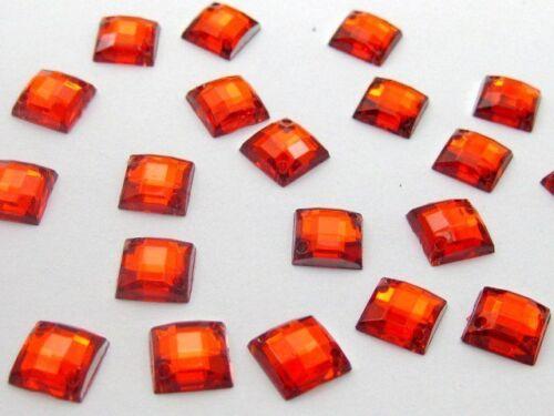 200 Flatback Acrylique Carré Strass Bouton 8 mm sew on Beads choisissez votre couleur