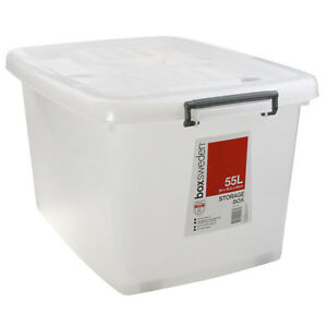 15 X 55l Large Plastic Storage Tubs Containers Roller Lids Boxes