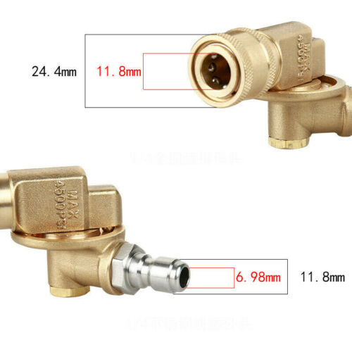 Pressure Washer 7-Angle Adjustable 1//4Inch Quick-Connect Plugs Pivoting Coupler
