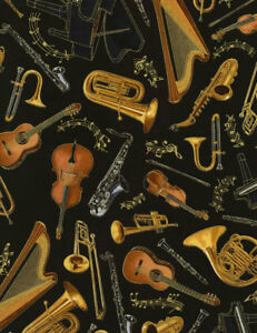 Timeless-Treasures-Fabric-MUSICAL-INSTRUMENTS-ON-BLACK-yards