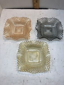 3-Vintage-Federal-Glass-Square-Candy-Dishes-Rare-Colors-Diamond-Cut-Ruffle-Edge