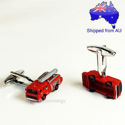 Red Fire Fighter Fire Engine Truck Novelty Cufflinks