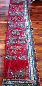 MUSEUM-QUALITY-ANTIQUE-19TH-CENTURY-CHINESE-SILK-EMBROIDERED-BANNER-15FT-X-31-IN