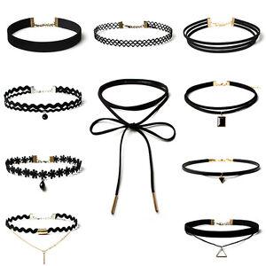 4pc//set Girls Velvet Collar Stretch Black Neck Jewelry Necklace Women Choker
