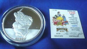 Vtg-034-Happy-034-Snow-White-Disney-Rarities-Mint-5-oz-999-Silver-Round-Coin-w-COA