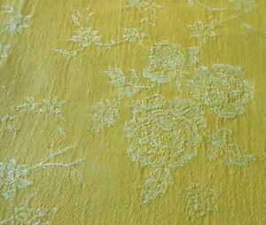 Antique-Vintage-French-Yellow-Tonal-Roses-Floral-Cotton-Ticking-Damask-Fabric