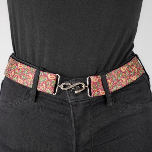 Burgundy Beige Paisley Elastic Belt Womens Elasticated Snake Belt Stretch Unisex