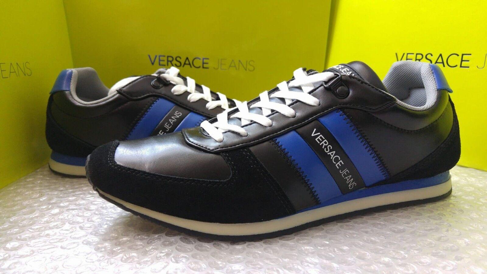 Versace Jeans men's black & bluee sneakers size 40EU (6.5UK)