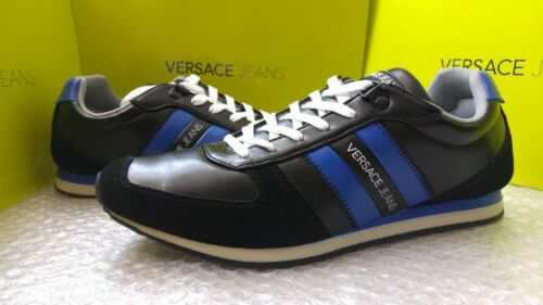 6UK Versace Jeans men/'s black /& blue sneakers size 39EU