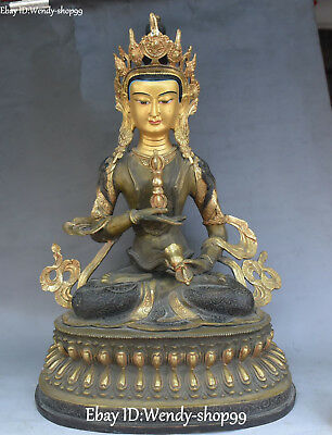 "Antiques China Conscientious 20""old Tibet Bronze Gilt Vajradhara Vajrabhairava Goddess Buddha Faqi Statue Quality First"