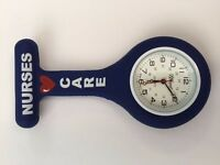Firsthand Healthcare Therapist Nurse's Care Navy Blue Round Silicone Watch