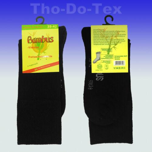 breiter Pique-Komfortbund ohne Gummi 6 oder 9 Paar Bambussocken Frotteesohle