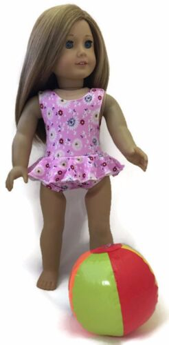 Pink Floral Swimsuit /& Beach Ball fits 18 inch American Girl Doll Clothes