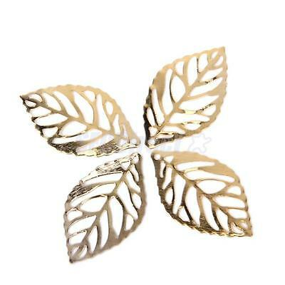 100pcs Gold Plated Metal Tree Leaf Leaves Charms DIY Jewelry Craft Findings