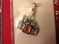 Mud Pie House Charm Silver Metal Clip Bracelet Home Real Estate Gift Red