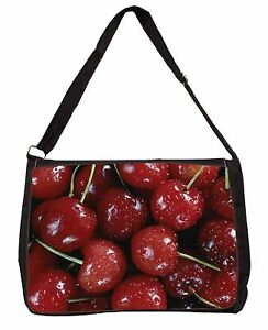 Red Cherries Print Large Black Laptop Shoulder Bag School/College<wbr/>, F-F3SB