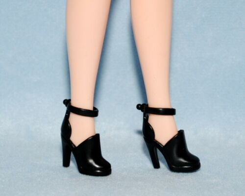JET BLACK Closed Toe High Heel Shoes Genuine BARBIE Accessory w// Ankle Strap