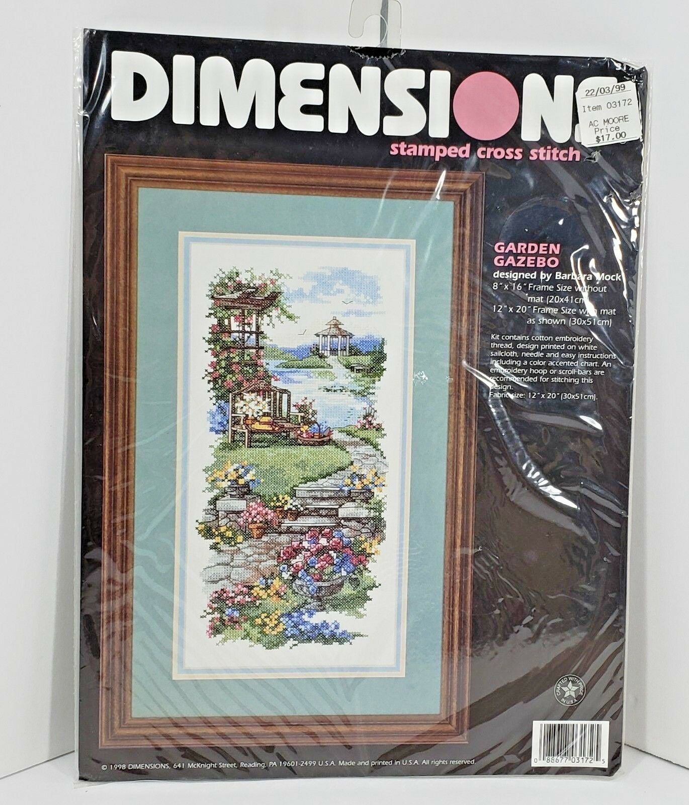 Vintage 1998 Dimensions Stamped Cross Stitch Garden Gazebo 3172 8x16