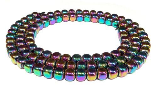 Hématite arrondis Cube 4 MM avec buntem AB-lueur perles strang Héma 93