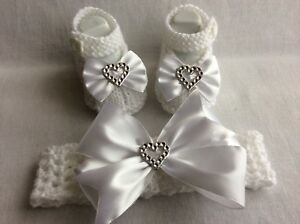 Hand knitted Romany Bling baby girls  Shoes/booties+Crochet headband 0-3months