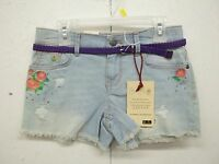 Lei Chelsea Low Rise Girls Denim Shorts W/belt-4-6-10-12-embroidery