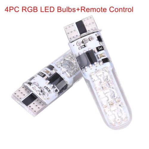 4PCS T10 5050 6SMD RGB LED Colorful flash Light Car Wedge Bulbs Remote Control