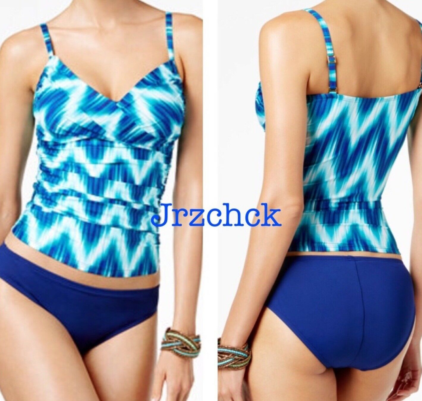 NWT La whitea 2 Piece Cami Tankini Bathing Suit Set SZ 12 Swimsuit Swimwear