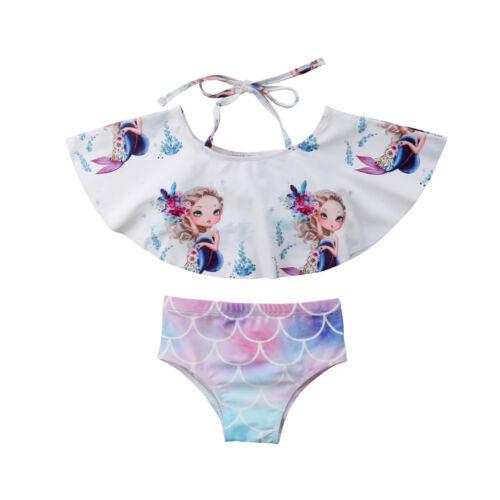 Canis Kids Baby Girls Mermaid Scale Bikini Set Swimwear Swimsuit Bathing Beach